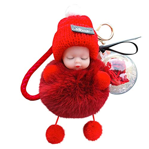 Christmas Decor Lovely Cute Doll Plush Car Keychain Valentine's Day Pendant Simulation Plush Squint Doll (Red)