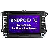AWESAFE Android 10.0 Autoradio 2 Din per VW Volkswagen Golf 5 6 Polo Passat Skoda Seat Tiguan, [2G+32GB] 7 Pollici Car Radio Supporta la funzione GPS Comandi al volante BT WIFI CD DVD SD USB RDS DAB