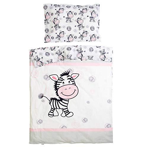 Zèbre - Pati'Chou 100% Coton Parure Linge de lit pour bébé et enfant (Taie d'oreiller et Housse de couette 120x150 cm)