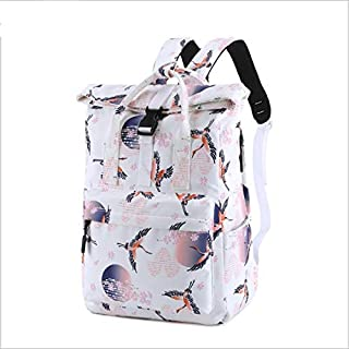 YXHM AU Girls Portable Backpack College Wind Student Bag Female Korean Waterproof Polyester Printing (Color : White)