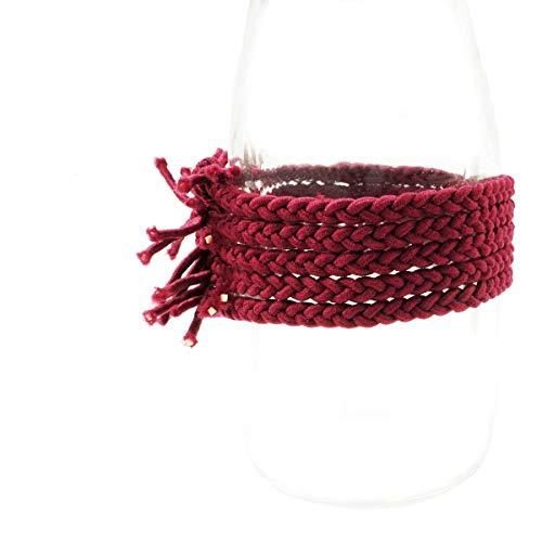 [ATK21] (5点セット)三つ編みゴム ヘアゴム ヘアポニー 髪留め ミサンガ メンズ レディース キッズ ヘアアクセサリー (Wine)