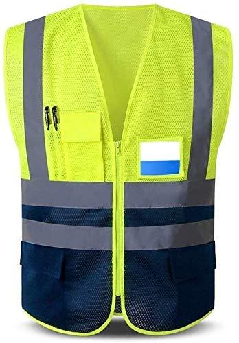 Guhui Salut Vis Viz Gilets de sécurité, avec Deux Tons réfléchissant Respirant Net vêtements de Travail Multi-Poches Haute visibilité for Hommes et Femmes (Color : Yellow, Size : XXL)