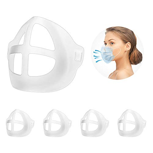 Adult 3D Face Mask Bracket for Comfortable Breathing, Under Frame Lipstick Protector Keep Fabric Off Mouth to Create More Breathing Space. Washable, Reusable, Translucent, 5Pcs