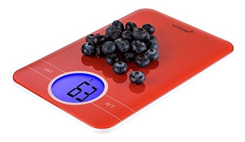 Korona 70233 Küchenwaage Karla | Digitalwaage in rot | elektronische Haushaltswaage zum Backen und Kochen | Kunststoff