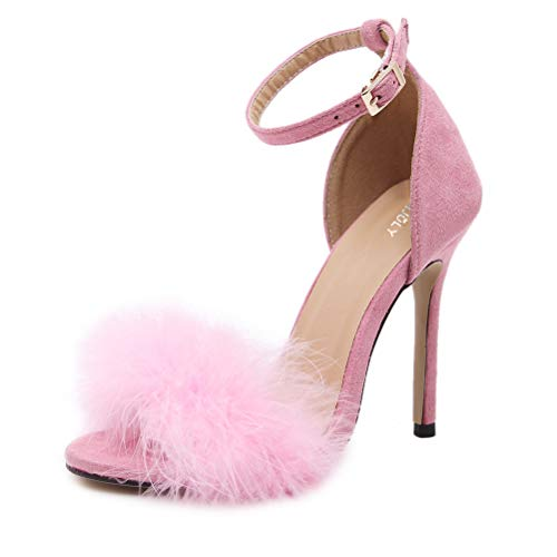 MMJULY Women's Open Toe Ankle Strap Fluffy Feather Stiletto High Heel Dress Sandal Pink US 8