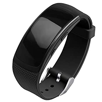 OenFoto Compatible Gear Fit2 Pro/Fit2 Band Replacement Silicone Accessories Strap Samsung Gear Fit2 Pro SM-R365/Gear Fit2 SM-R360 Smartwatch- Black