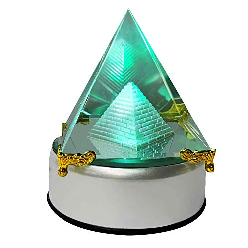 AXAYINC 80mm K9 Crystal Pyramid Figurine Collectible Gold-Plated Decoration Automatic Color Changing Rotating Base.