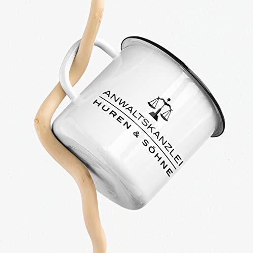 Emaille Tasse Humor Anwaltskanzlei Huren und Söhne Kanzlei Anwalt Justiz Geschenk Kaffee Tee Tasse Design schwarzer Humor