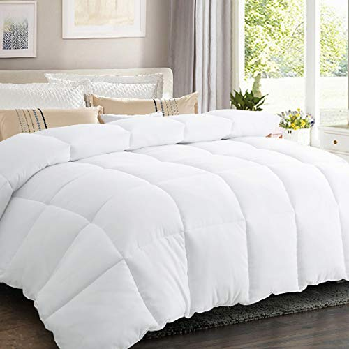 SOPAT All Season Duvet 4.5 Tog King Duvet Insert Feels Like Down Classic Quilt Anti Allergy and Warm Comforter with Corner Tabs,White,225x220cm(4.5 Tog, King)
