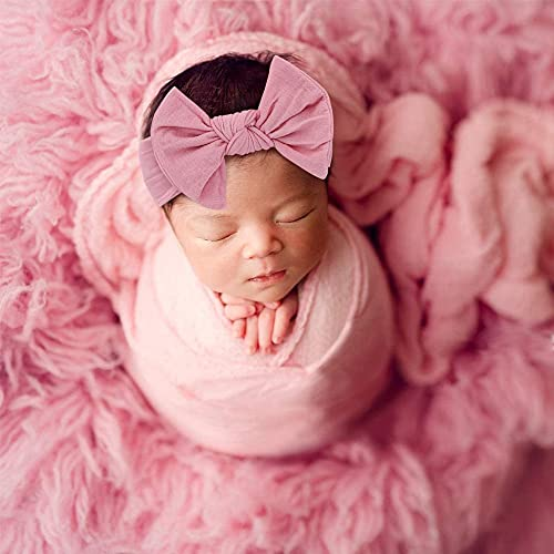 5 Pcs Newborn Photography Props - Baby Photo Props Long Ripple Wraps DIY Blanket Outfits with Headband, Baby Flower Headband Pink Wraps Fluffy Photography Blanket Mat Set