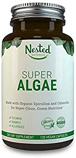 Super Algae 500mg | 120 Vegan Capsules | 50/50 Spirulina + Chlorella Superfood Powder | Support Healthy Detox Cleanse & Gut Health | Naturally Sourced Made with Organic Blue Green Algae Supplement