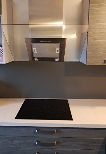 Fondo para campana extractora, de aluminio, color gris tierra de sombra, RAL 7022-11, tamaños – Altura 25 cm x 40 cm