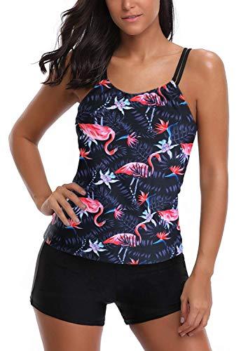 AYEEBOOY Frauen Plus Size Floral Halfter Tankini Set mit Boyshort zweiteiligen Badeanzug(7FlamingoP,EU (38-40))