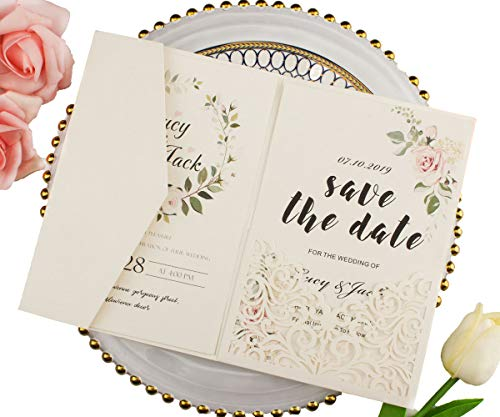 25 sets Pearl White/Ivory/Pink/Navy Blue/Burgundy paper Tri Fold Vertico pocket Laser Cut Vine Wedding Invitations Cards Hollow Carving Greeting invites Engagement Birthday Bridal Shower (ivory)