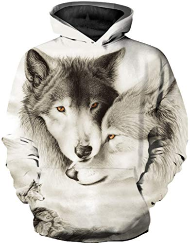 Ocean Plus Jungen Mehrfarbiger Druck Kapuzenpullover Kinder Hoodie mit Lange Ärmel Teen Sweatshirt mit Kapuzen (XXL (Körpergröße: 145-155cm), Zwei weiße Wölfe)