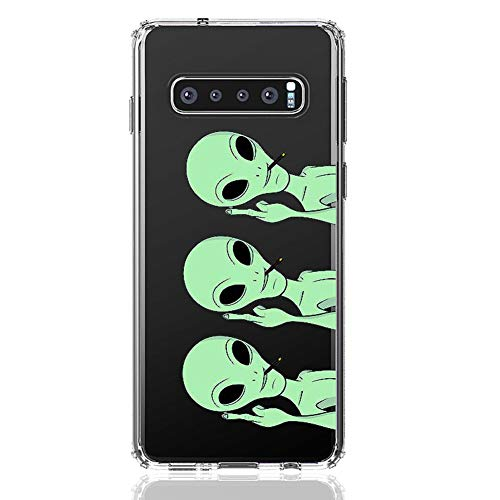 HUIYCUU Case Compatible with Galaxy S10 Plus Case, Cute Animal Design Slim Fit Soft TPU Protective Cover Shockproof Funny Pattern Thin Clear Novelty Bumper Back Shell,Aliens