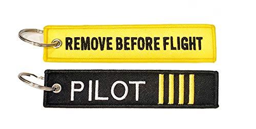 Pack llaveros con Texto Remove Before Flight + piloto Comandante