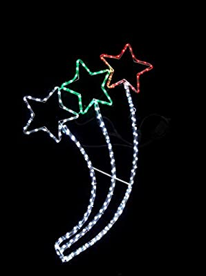 garden mile Large Pre-Lit Christmas Rope Lights Silhouette LED Lights Waterproof Indoor/Outdoor Christmas Decoration Festive Lighting Xmas Home Decor (Triple Shooting Star)