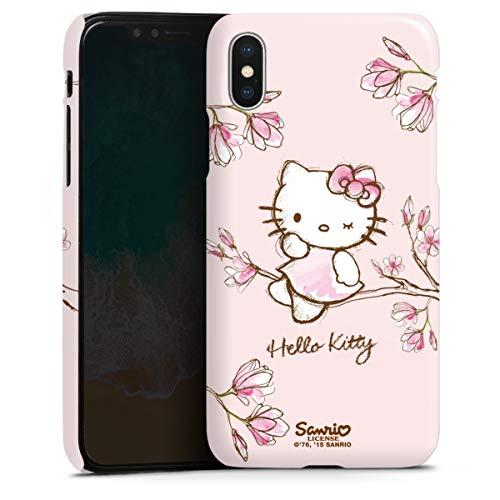DeinDesign Premium Hülle kompatibel mit Apple iPhone X Smartphone Handyhülle Hülle glänzend Hello Kitty Fanartikel Hanami