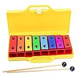 QiaoDongDian 8 Notas Glockenspiel Professional Xylophone Resonator Bells Set, para niños Juguete Musical Percussion Xylophone Enseñar Instrumento Chime Bar