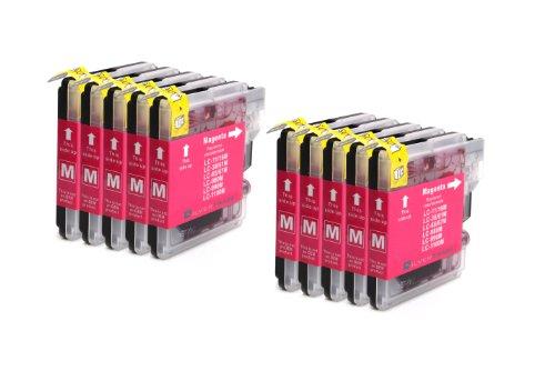 10x magenta LC1100M LC980M Patronen kompatibel zu Brother für Brother MFC-250C MFC-255CW MFC-290C MFC-295CN MFC-297C MFC-490CN MFC-5490CN MFC-5890CN MFC-790CW MFC-795CW MFC-6490CW MFC-6890CDW MFC-990CW DCP-145C DCP-163C DCP-165C DCP-167C DCP-185C DCP-195C DCP-365CN DCP-373CW DCP-375CW DCP-377CW DCP-383C DCP-385C DCP-J715W