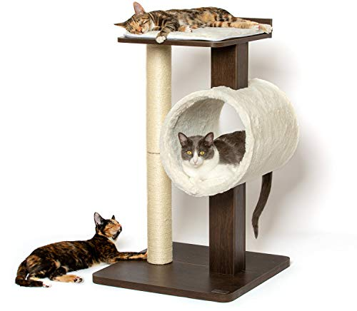 PetFusion Modern Cat Tree House & Tall Scratching Post (33' tall).  Modern and neutral platforms, Espresso finish, Chestnut brown