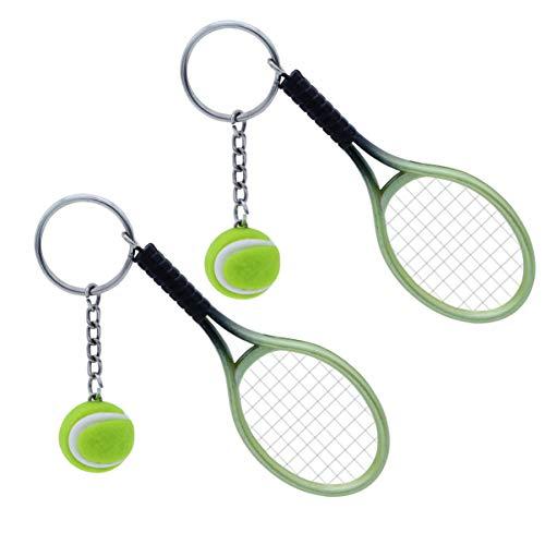NUOBESTY Llavero de tenis con forma de raqueta de tenis, llavero de estilo deportivo, 2 unidades (verde)