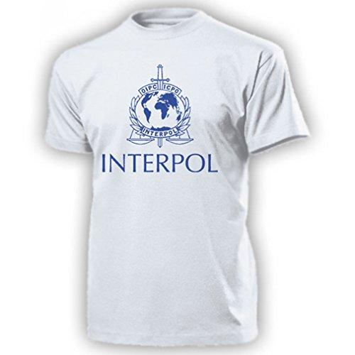 Copytec Polizia Interpol Internazionale di Polizia Criminale organizzazione Crest Marchio del Distintivo ICPO organizzazione Internazionale di Polizia Criminale - T-Shirt #14209 Bianco Large