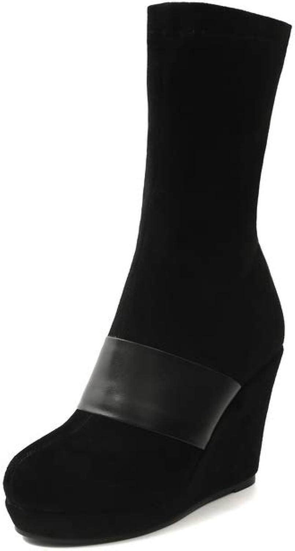 BalaMasa Womens Solid Platform High-Heel Urethane Boots ABM12533