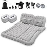 SUV Air Mattress Car Camping Travel Bed, Thickened Inflatable Mattress with Two Air Pillow and Car Air Pump, Flocking & PVC Surface, Camping Sleeping Pad