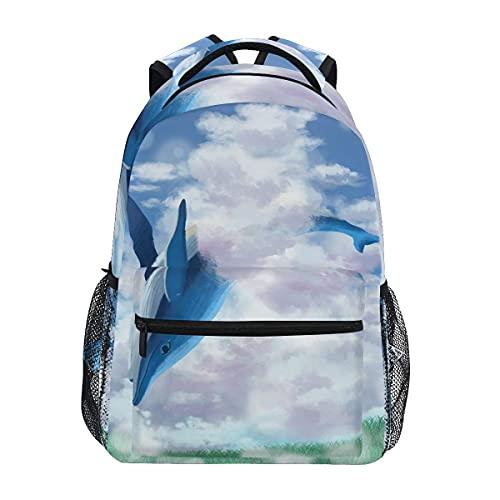 HAFEIFEI Mochilas tipo casual Volador Tiburón Delfín Arte