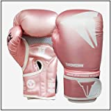 RGXY Kick Boxing Gloves para Hombres Mujeres Karate Muay Thai Guantes Fight Fighting Adultos,Rosado,8OZ