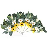 6 pcs Artificial Flowers, Flower Stems Green Eucalyptus Leaves Spray Floral Picks for Home Centerpiece Wedding and Wreath Decoration(12' T 8' W)