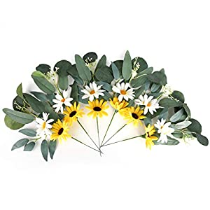 6 pcs Artificial Flowers, Flower Stems Green Eucalyptus Leaves Spray Floral Picks for Home Centerpiece Wedding and Wreath Decoration(12″ T 8″ W)