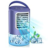 Mobile Klimaanlage, 3 in 1- Persönlicher Klimageräte & Tischventilator & Luftbefeuchter, Luftkühler mit 7 Farben Licht & 2/4 H Timer, Verdunstungskühlung mit 3 Windgeschwindigkeiten für Büro, Zuhause