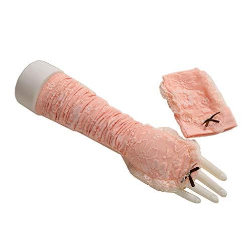 Zhiling Schutzhandschuhe- Sonnenschutz Handschuhe Sommer dünne Abschnitt Lange Spitze Arm Ärmel EIS Seide Sonnencreme Ärmel (Farbe : Light pink)