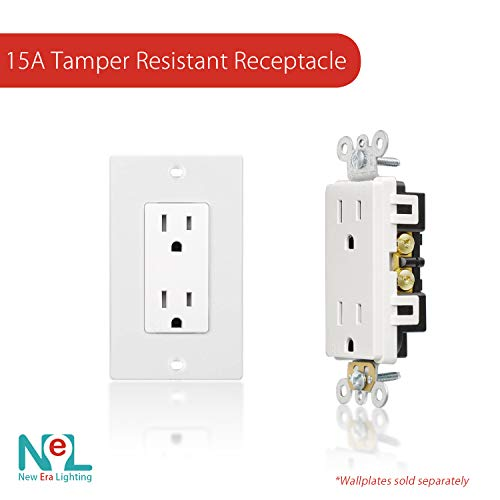 [20 Pack] 15 Amp, Tamper Resistant, 120 Volt, Child-Proof Outlets, Duplex Receptacle, White