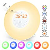 Wake Up Light Alarm Clock, Sunrise/Sunset Simulation Alarm Clock with Snooze Function, 7
