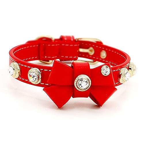 XLSQW Luxury Pet Necklace Diamond Bling Soft Leather Dog & Cat Collar & Leash Sparkly Crystal Diamonds Studded Cute Bowknot for Small Medium Pet,XS