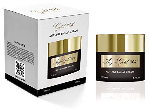 Crema Antiarrugas GOLD 24k - Crema hidratante Facial Mujer y Hombre, Fabricada en España con Oro, Vitamina C, Aceites Esenciales y Argan | Crema Correctora | Anti-imperfecciones | Día y Noche