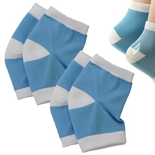 2 Paires de Chaussettes à Talon en Gel de Silicone Hydratant pour la Peau Sèche, Craquelée et Sèche (Bleu)