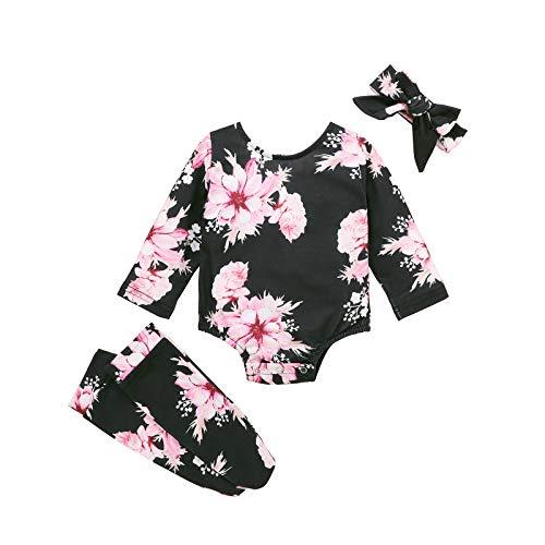 Beudylihy Infant - Pelele para recién nacidos y niñas, diseño floral, manga larga, mono divertido, mono, pijama + perneras + cinta para la cabeza, 3 unidades negro 3-6 Meses