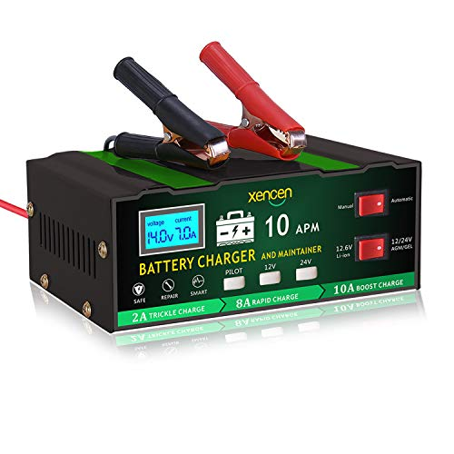 SMART 12V/24V 10A Car Battery Charger and Maintainer,Fast Automatic Battery Charger for Automotive, Motorcycle, Marine, Lithium, AGM and More