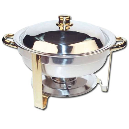 Winco Winware 4 Quart Round Stainless Steel Gold Accented Chafer