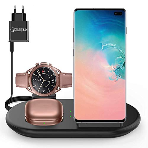 Lopnord Cargador Inalámbrico 3 en 1, Estación de Carga Inalámbrica Qi para Samsung Galaxy Watch Active 3/2/1, Galaxy Watch 3/1, Galaxy S20/S20 +/S10/S10e/S9, Phone SE/11/11 Pro MAX/XS/Air Pos Pro 2