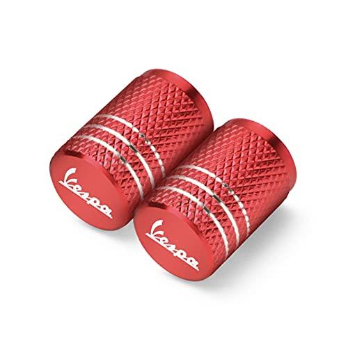Fyjhunann Válvula de neumático de la Rueda de la Motocicleta Tapas de vástago de Las Tapas herméticas para Piaggio Vespa GTS GTV LX 60 125 250 300 PX 200 Primavera Sprint hnfyj (Color : 2Pcs Red)