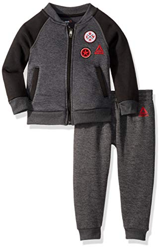 Reebok Boys' Little 2 Piece Athletic Set, Letterman Jacket Shark Heather, 6