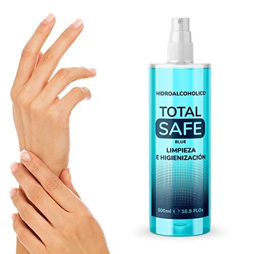 Total Safe 500ml Spray | Ideal para una higiene profunda de manos - Hidroalcoholico Liquido envase con Aerosol Blue