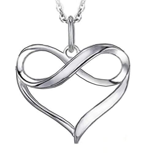 Colgante de plata con corazón infinito - Collar para mujer - Colgante