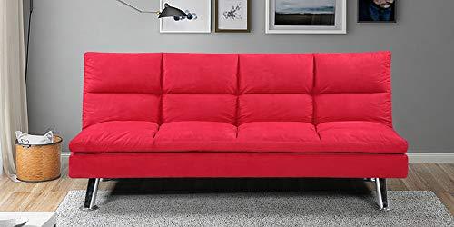 Designetsamaison Banquette Clic Clac 3 Places Rouge - Vanan